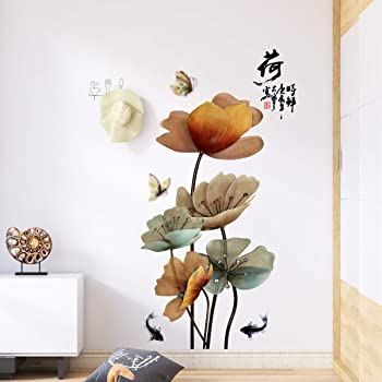 Flower Amaonm Creative Gaint Cartoon Blue Lotus Wall Stickers Removable DIY Flowers Nursery Decor Wall Decals 3d Floral Peel and Stick art for Home Walls Girls Bedroom Living Room Classroom Bathroom
