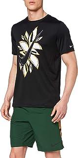 Nike RUN SS FIESTA FLORAL T-Shirt for Men, Black, XL, Size XL, Black