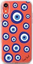 iPhone Xr Cases Clear Case Yard iPhone Xr Case Slim Fit Xr iPhone Case Clear Evil Eyes Design Soft & Flexible TPU Ultra-Thin Shockproof Transparent Girls and Women Cute Cover Xr Phone Case
