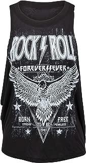 Womens Black Rock'n'Roll Forever Loose Fit Tank Top Muscle Tee