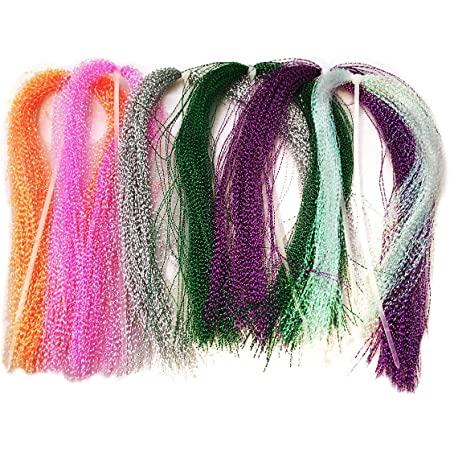Phecda Sport 10 Packs Crystal Flash Fly Fishing Line Fly Tying Material for Fishing Lure Dry Flies