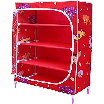Little One's | 4 Shelves Baby Foldable Wardrobe | Aquatic Red (Made in India)