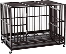 Sliverylake 3XL 48'' Dog Cage, Dog Crates for Large Dogs Dog Kennel - Heavy Duty Double Door Pet Cage w/Metal Tray Wheels Exercise Playpen (48'', Golden)