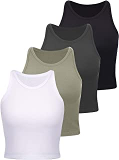 4 Pieces Basic Crop Tank Tops Women Sleeveless Racerback...