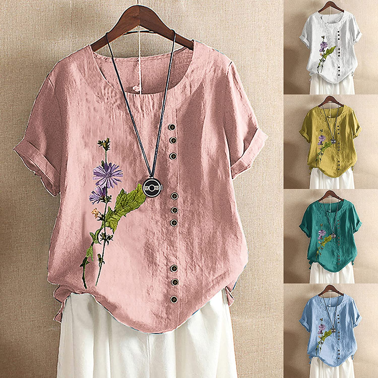 Women Casual Linen Tops, Solid Color Tees Crew Neck Loose Flower Print Vintage Tops Tank Blouse Cut-out Shirt
