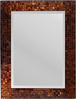 Lulu Decor, Decorative Handmade Amber Rectangle Mosaic Beveled Wall Mirror, Frame Measures 31