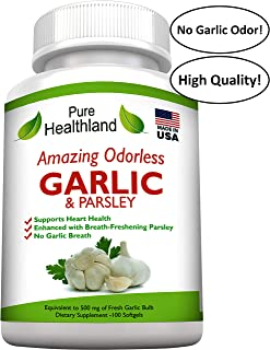 AMAZING ODORLESS Garlic And Parsley Supplement Softgels For Men And Women. Equal To 500mg Fresh Garlic Bulbs. Best Garlic Pills. Allium Sativum Helps Lower Cholesterol And Blood Pressure Naturally.