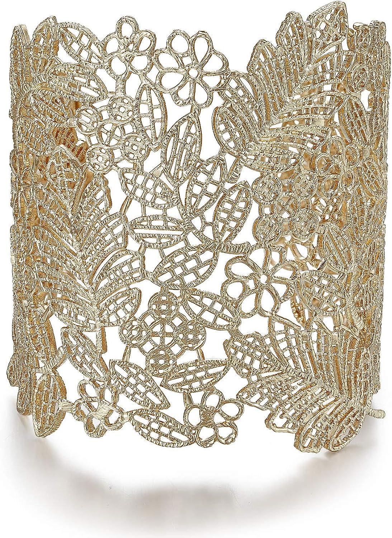 Rhinelife Lace Leaf Flower Hollow Vintage Boho Style Cuff Open Wide Big Bangle Bracelet for Women Jewelry