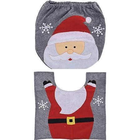 Weihnachtsmann-Design Weihnachtsdeko WC-Sitze Set 2 St/ücke Mit Sitzbezug /& Teppich Weihnachten Toilettensitzbezug