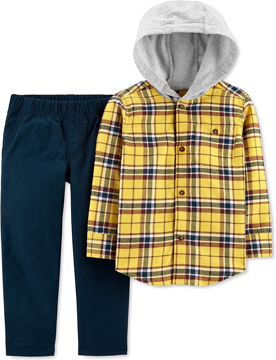 Carter's Baby Boys Outfit Blue Plaid Hoodie Pants Set Yellow 18 Months