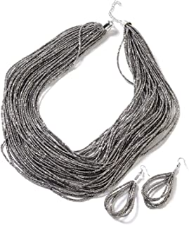 """Shop LC Delivering Joy Multi Strand Necklace Earrings Strand Necklace Set Stainless Steel Costume Jewelry for Women Size 22"""""""