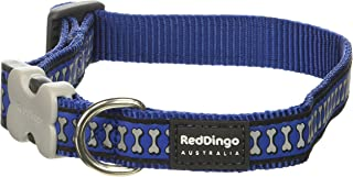 Red Dingo Reflective Dark Blue Dog Collar, Medium/Large/20mm