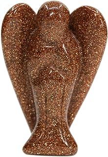 (Goldstone) - Goldstone Gemstone Peace Angel Pocket Guardian Angel Healing Statue 3.8cm