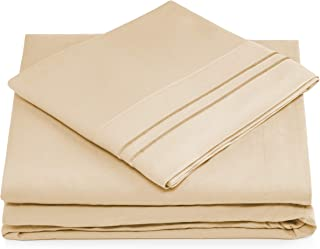 Split King Bed Sheets - Cream Luxury Sheet Set - Deep Pocket - Super Soft Hotel Bedding - Cool & Wrinkle Free - 2 Fitted, 1 Flat, 2 Pillow Cases - Beige SplitKing Sheets - 5 Piece