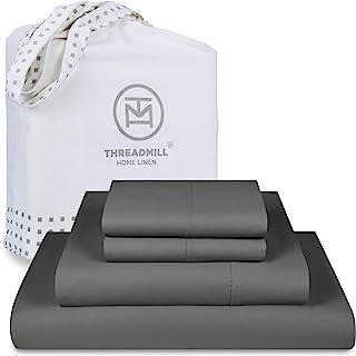 Threadmill Home Linen King Sheets - Pure Long Staple Cotton Sateen Weave, 4 Piece 300 Thread Count Bedsheet Set, Solid Dar...
