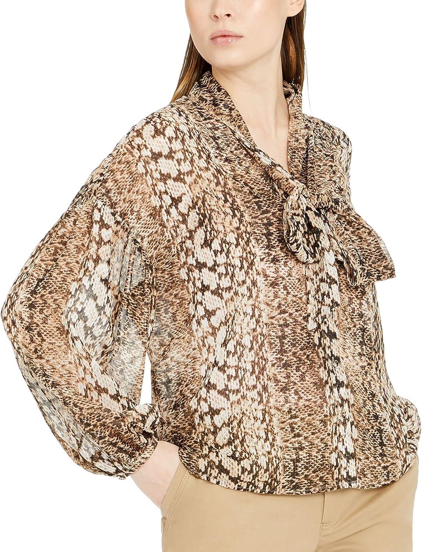 I.N.C. International Concepts Womens Chiffon Snake Print Button Down Bow Blouse