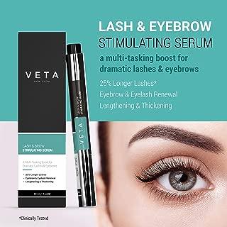 Veta – Lash and Eyebrow Serum – 2-in-1 Lash & Brow Pen – Produces Longer, Healthier, Denser Lashes and Thicker Brows – Eyelash Serum – Boosts Skin Collagen – Drug-Free Formula - 1 fl oz.