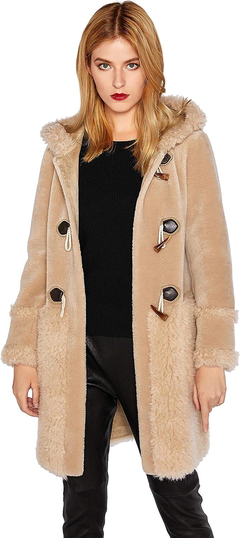 Women's Real Shearling Fur Coat Winter Toggle Hooded coat SmartUniverseWear
