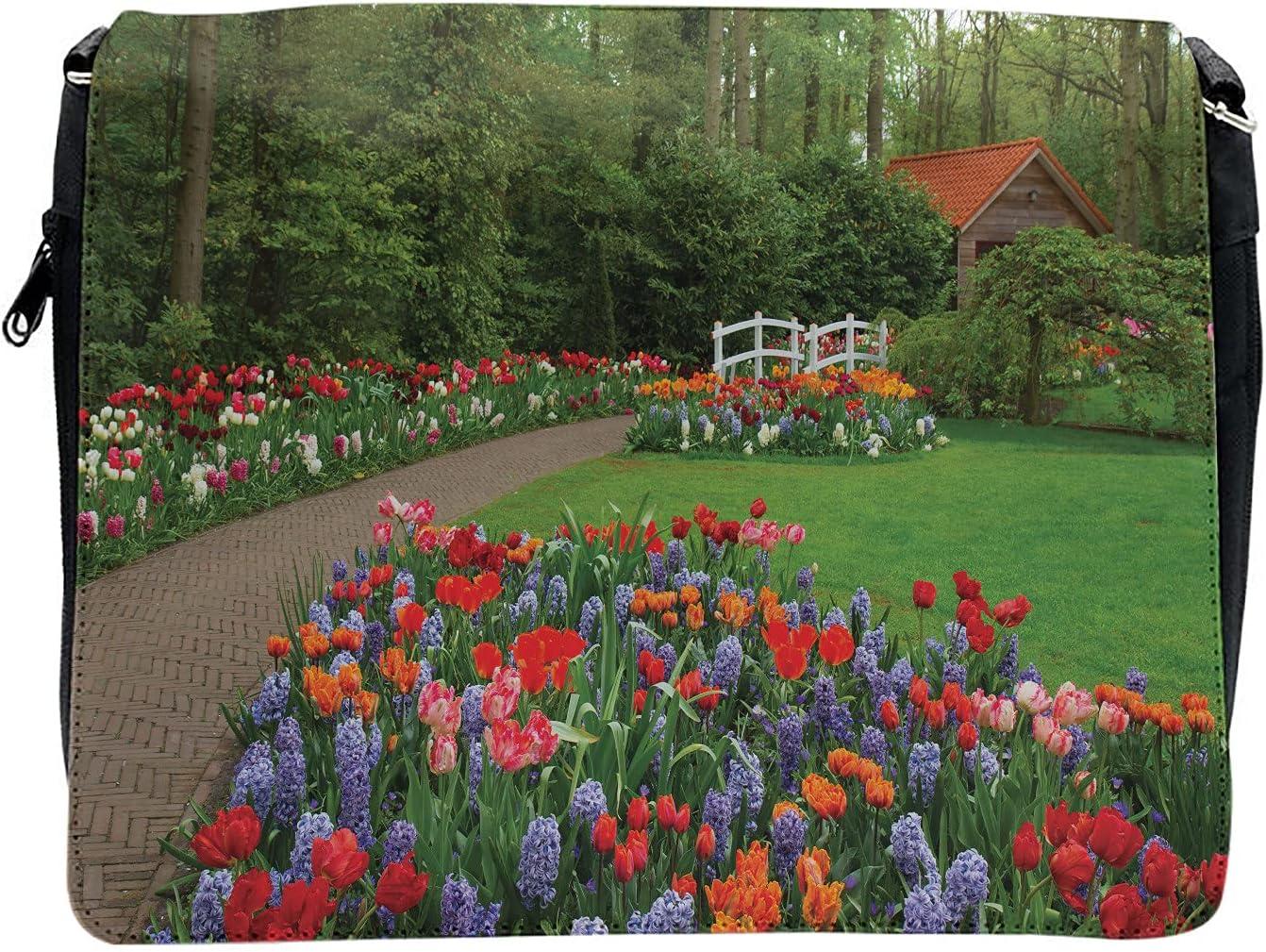 Ambesonne Floral Cross Excellence Body Messenger Spring Bag Garden ...