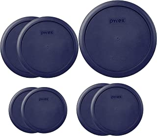 Pyrex Round Storage Cover, Blue Set Replacement Lids for Glass Bowl, 1 (6/7) Cup Blue Lid, 2 (4) Cup Blue Lids, 2 (2) Cup ...