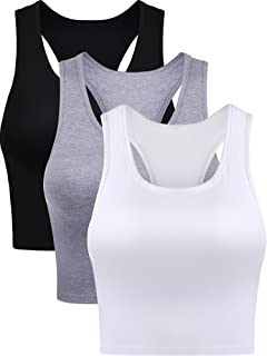 3 Pieces Women's Cotton Basic Sleeveless Racerback Crop...