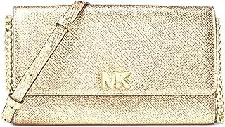MICHAEL Mott Metallic Leather Crossbody Bag, Pale Gold