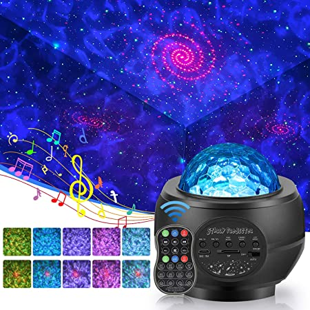 Langguth Proyector de luz LED de estrellas efecto de ondas de agua proyector de cielo estrellado l/ámpara de proyecci/ón con reproductor de m/úsica mando a distancia//luz nocturna Bluetooth