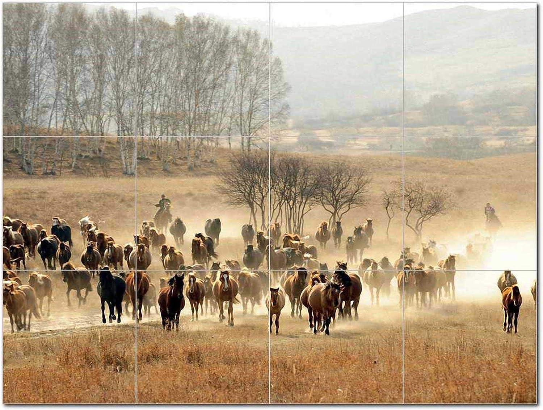 OFFicial shop Horse Family Ceramic Tile Sale price Mural Wildlife Backs Decorative Animal