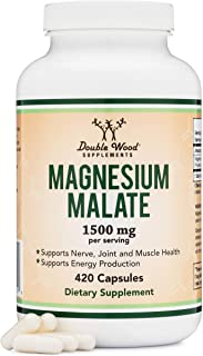 Magnesium Malate Capsules (420 Count) - 1,500mg Per Serving (Magnesium bonded to Malic Acid), Third Party Tested, Vegan Fr...