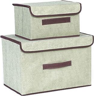 Greyoe 2pcs boîte de Rangement Pliable boîtes de Rangement avec Couvercle et poignée Caisse de Rangement en Tissu bac de R...