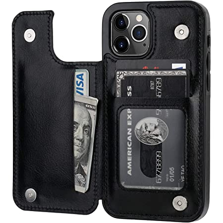 ONETOP Compatible with iPhone 12 Compatible with iPhone 12 Pro Wallet Case with Card Holder, PU Leather Kickstand Card Slots Case, Double Magnetic Clasp Durable Shockproof Cover 6.1 Inch(Black)
