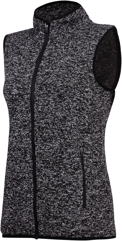SPOEAR Zip Up Womens Vest with Zipper Pockets Athletic Sweater Fleece Vest Sleeveless Sweater Jacket(Black,XXXL)