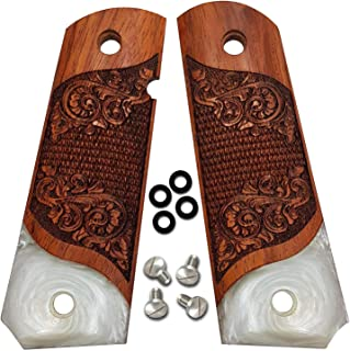 1911 Grips Full Size by Dan Eagle Exotic Solid Rosewood & Simulated Pearl Fits Government and Commander Scroll Design