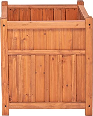 Leisure Season CHSP321-V Winchester Square Wooden planters, Medium Brown