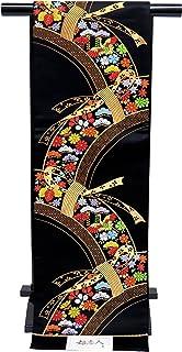 袋帯 正絹 新品 七五三 十三参りに 子供用 全通柄の袋帯「黒 束ね熨斗」JFS499