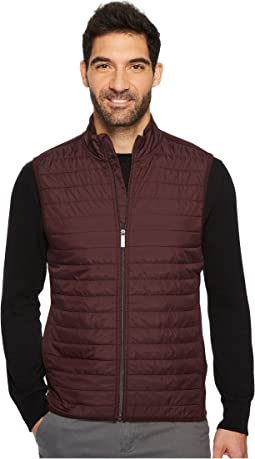 Perry Ellis - Quilted Mix Media Full Zip Vest