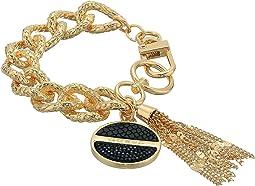 Logo Disc on Chunky Chain Bracelet with Tassel