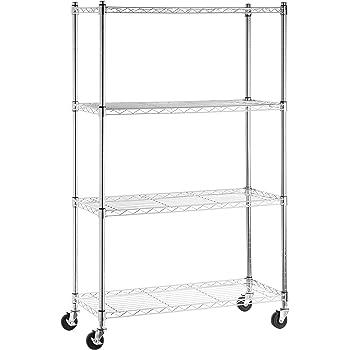 AmazonBasics 4-Shelf Shelving Storage Unit on 3'' Wheel Casters, Metal Organizer Wire Rack, Chrome Silver (36L x 14W x 57.75H)