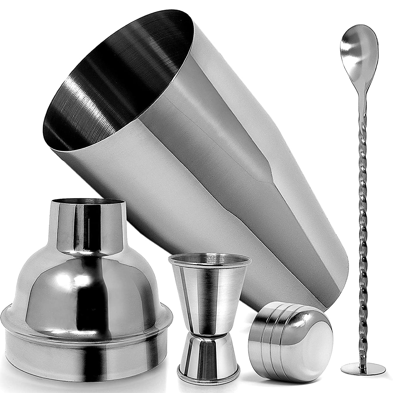 Professional Cocktail Shaker with Accessories - Sleek Martini Shaker with Measuring Jigger & Mixing Spoon - Drink Shaker Bar Set Built-In Strainer - 24 Oz Shaker Set - Best Bar Ware - by Zulay Kitchen