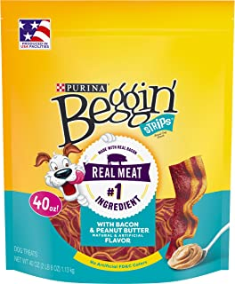 Purina Beggin' Strips Made in USA Facilities Dog Training Treats, With Bacon & Peanut Butter Flavor - 40 oz. Pouch