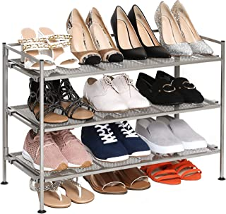 Seville Classics 3-Tier Stackable 12-Pair Shoe Rack Metal Freestanding Storage Shelf for..