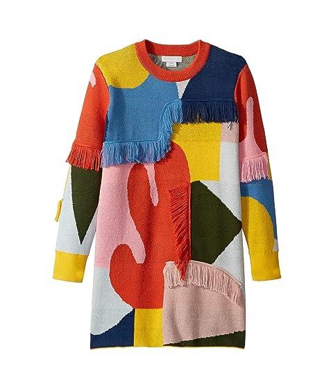 Stella McCartney Kids Color Block and Fringe Sweater Dress (Toddler/Little Kids/Big Kids)