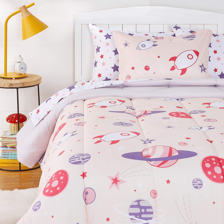 Amazon Basics 安全 Kids Easy-Wash Microfiber Bed-in-a-Bag Set Bedding 激安超特価