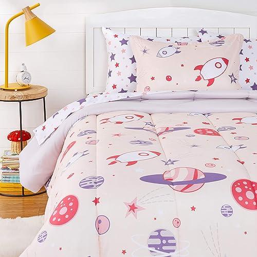 Amazon Basics Kids Easy-Wash Microfiber Bed-in-a-Bag Bedding Set - Twin, Sweet Spaceships