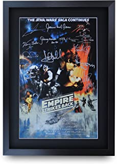HWC Trading Star Wars The Empire Strikes Back A3 Enmarcado Regalo De Visualización De Fotos De Impresión De Imagen Impresa Autógrafo Firmado por Los Aficionados Al Cine