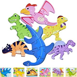 KIANORIST Dinosaur Wooden Jigsaw Puzzles, 6 Pack Dinosaur Toys for Toddlers Kids,Educational Preschool Learning Toys and G...