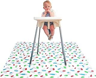 Paw Legend Washable Highchair Splat Mat for Floor- Anti-Slip Splash Mess Mat(53'' X 53'')-Under Highchair Mat-Food Catcher Art Craft Leak Proof Mat (Color)