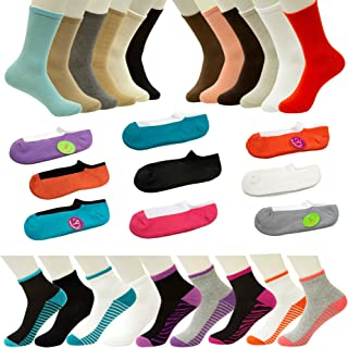 36 Pairs - 3 in 1 - Wholesale Premium Crew, Ankle, Low Cut Sock Value Pack in Assorted Colors Size (4-10)