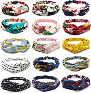 Women Headbands Criss Cross Wide Boho Knotted Yoga Headwraps Hair Band (Headbands-15PCS)