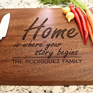 Home is Where Your Story Begins Personalized Chopping Block - Engraved Custom Cutting Board, Wedding, Housewarming, Anniversary, Engagement, Closing Gift W-031 GB